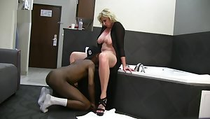 Busty Blonde Wife Enjoys BBC Hotel Fun on Vacation while husband films