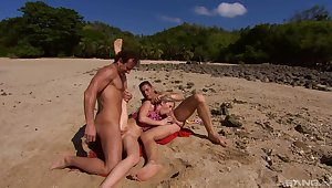 Perfect lido getaway for MILF Jamie Brooks is to have two dicks in her