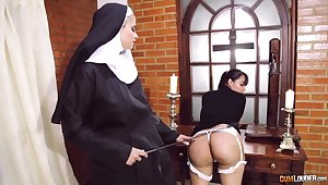Farcical nun poof fetish with two amazing women