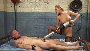 Cherie DeVille straps a dildo gag on him and uses his face hither tell someone where to get lost