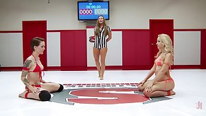 Catfight in a MMA ring with pornstars Ariel X and Mistress Kara