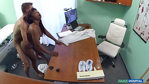 Naked ebony filmed in secret during hard sex upon her physician