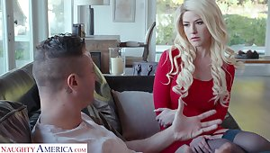 Blond babe hither red dress and stockings Kit Mercer is fucked wide of Danny Slew