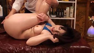 Bikini-clad Asian gripe oiled plus screwed by a skilled follower groupie