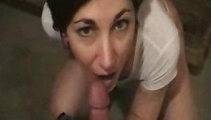 Hot milf sucking spouse dick and realize facial