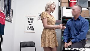 Seductive busty milf Amber Chase gets punished of shoplifting